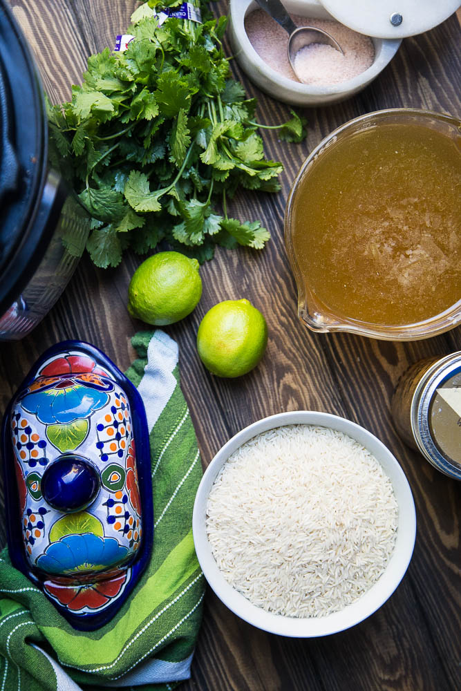 Ingredients for Instant Pot Cilantro Lime Rice | PerrysPlate.com