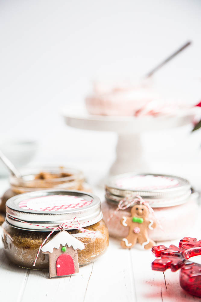 Homemade Holiday Sugar scrub is quick and easy and makes great teacher gifts and stocking stuffers!   perrysplate.com #stockingstuffers #teachergifts #homemadesugarscrub