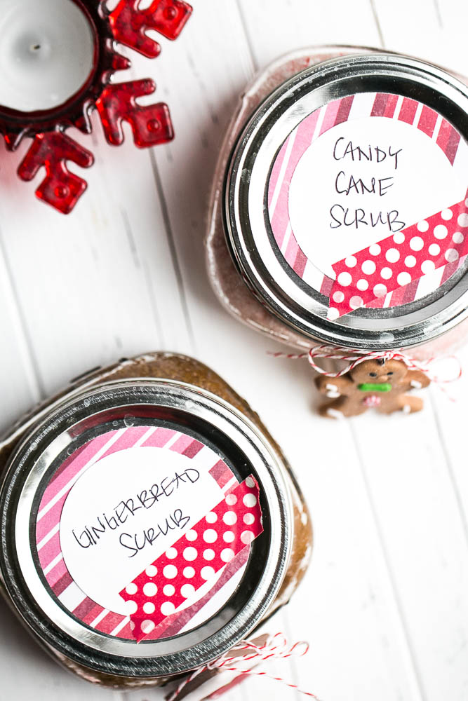 Homemade Holiday Sugar scrub is quick and easy and makes great teacher gifts and stocking stuffers! | perrysplate.com #stockingstuffers #teachergifts #homemadesugarscrub