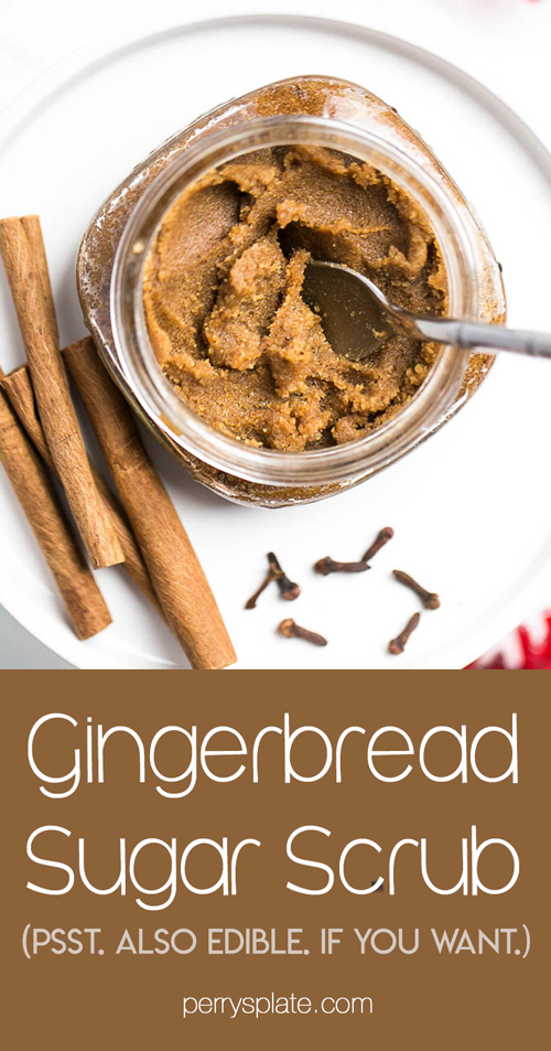 Homemade Gingerbread Sugar scrub is quick and easy and smells like gingerbread cookie dough! (It tastes like it, too. *wink*) | perrysplate.com #teachergifts #stockingstuffers #homemadesugarscrub
