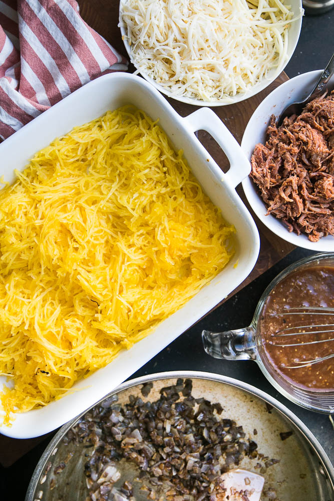 A perfect recipe for leftover BBQ pulled pork! It's also grain-free and easily made keto or low-carb friendly! | perrysplate.com #pulledpork #spaghettisquash #bbqpork