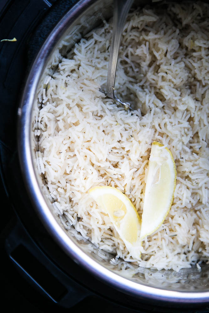 This EASY and versatile Instant Pot Lemon Herb Rice will be your go-to side dish. It's especially good with grilled chicken or seafood!   perrysplate.com #instantpot #instantpotrecipes #instapot
