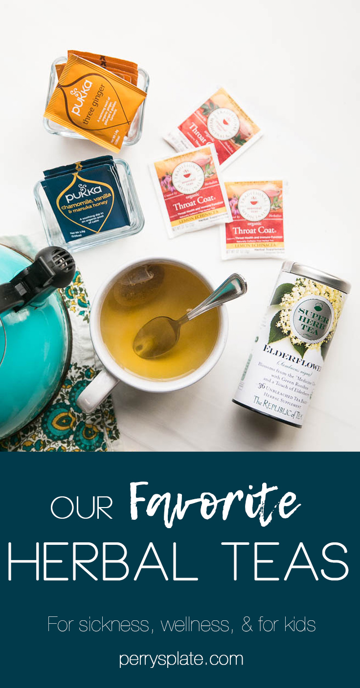 Our family LOVES herbal tea -- these are our favorites! It's a healthy alternative to hot chocolate in the winter and delicious iced during the summer. | perrysplate.com #herbaltea #wellnesstea