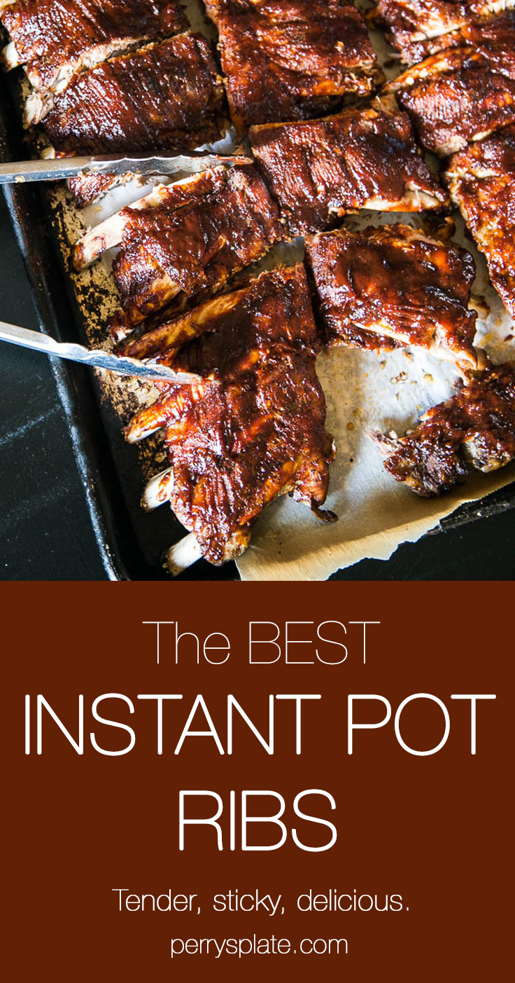 Making ribs in an Instant Pot is SO EASY! You get tender, sticky ribs in about an hour of cook time! Use your favorite BBQ sauce recipe, too! | perrysplate.com #instantpot #instantpotrecipes #ribs