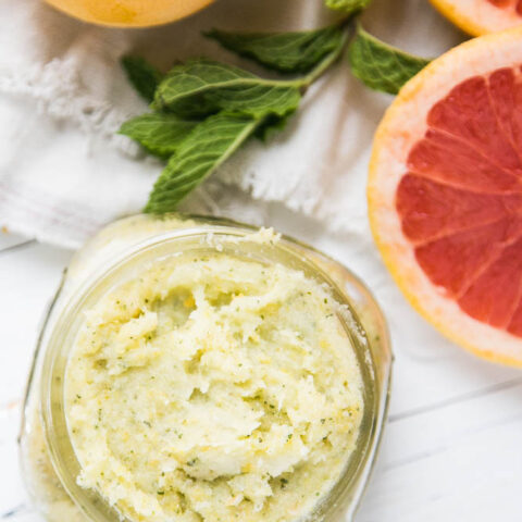 Homemade Sugar Scrub with Grapefruit and Mint