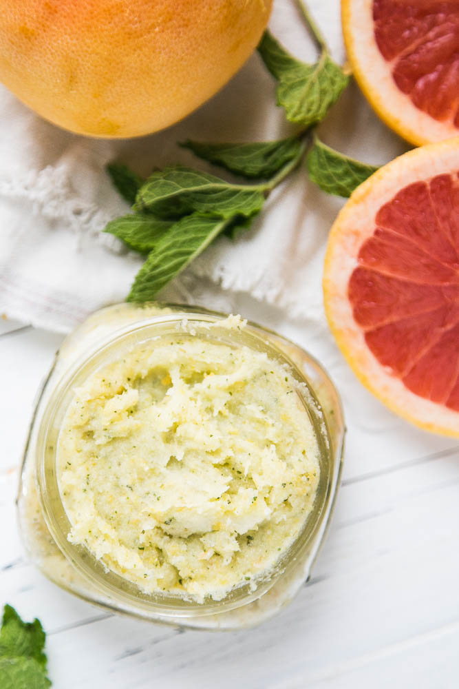 Make some homemade Grapefruit-Mint Sugar Scrub for Mother's Day or for teacher gifts. It's super easy and a great natural body product to give as a gift. | perrysplate.com #sugarscrub #diyscrub