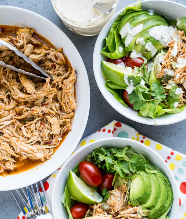 Best Instant Pot Shredded Chicken for Tacos - Chicken Taco Salads