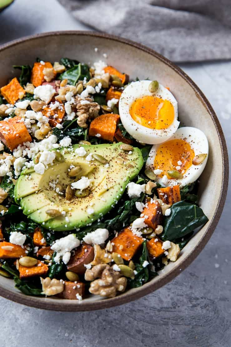 Roasted Sweet Potato Kale Salad - Paleo Meal Plan