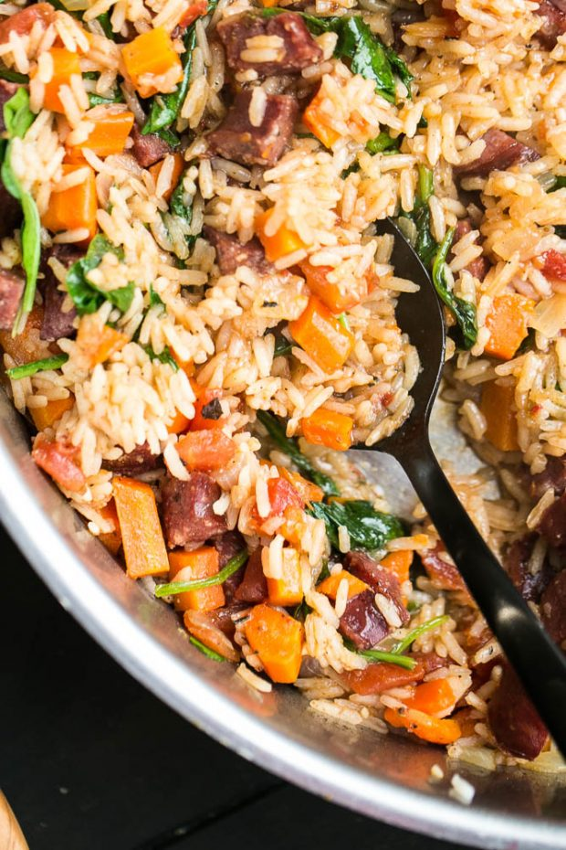Easy Cajun Sausage & Rice Skillet -- made in about 30 minutes using only ONE PAN!