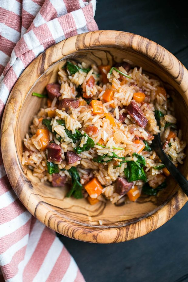 Easy Cajun Sausage & Rice Skillet -- made in about 30 minutes in just one pan!