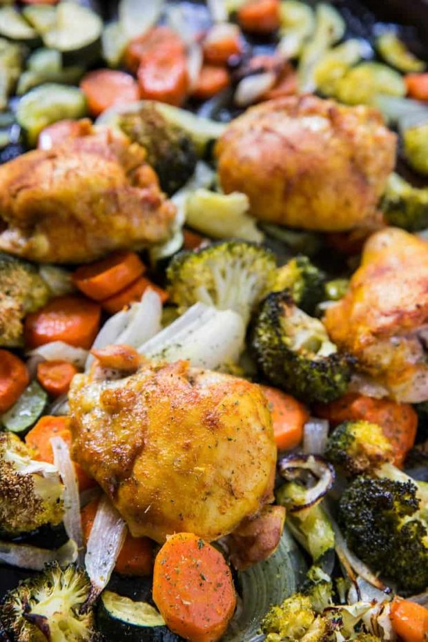 Turmeric Chicken Sheet Pan Dinner -- part of the Whole30 meal plan for this week.
