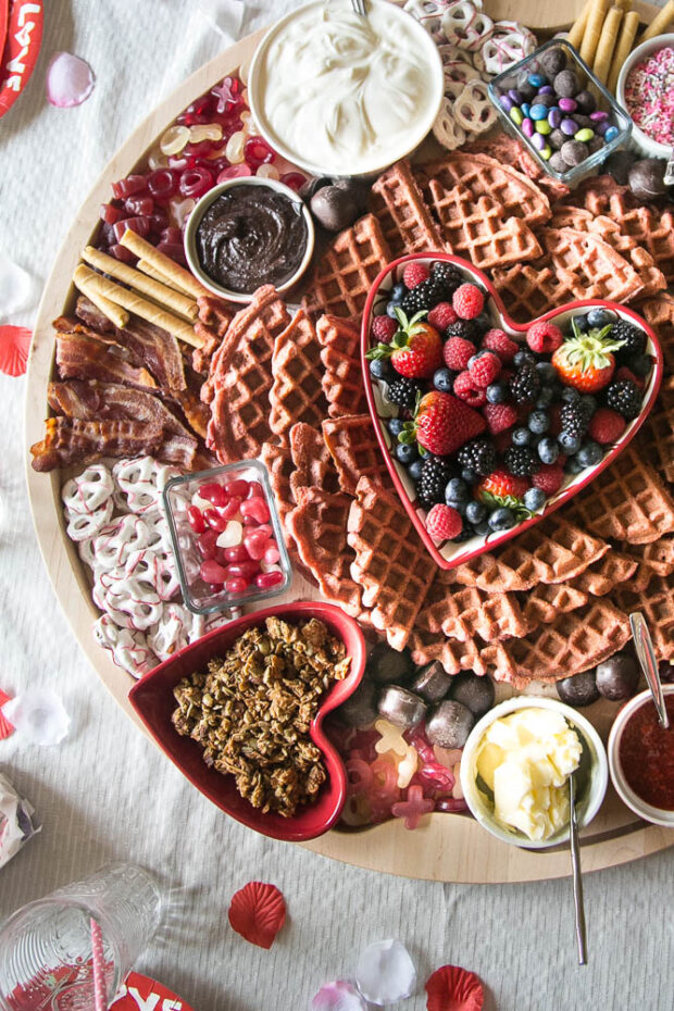 Use heart shaped containers for your Valentine's Breakfast Board to hold toppings and treats!