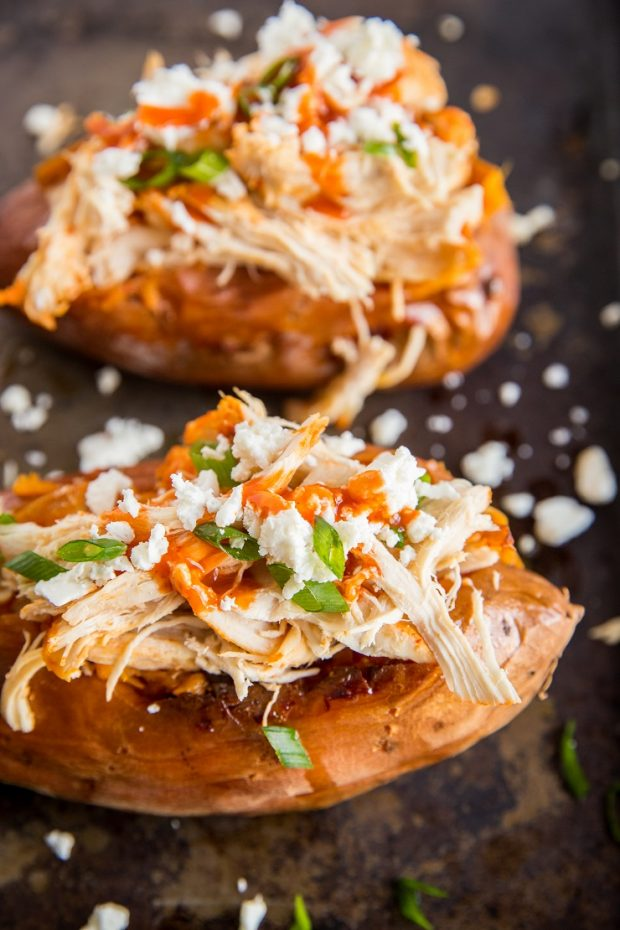 Buffalo Chicken Stuffed Sweet Potatoes -- Paleo Meal Plans