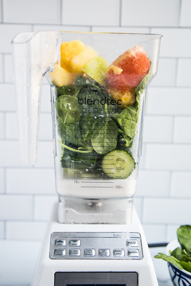 Green smoothies blend up beautifully in a high-powered blender like a Blendtec or a Vitamix!