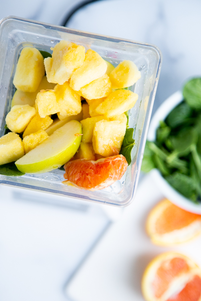 Adding frozen fruit to a green smoothie makes it colder and more tasty. Frozen pineapple is especially good at hiding the bitterness from greens.