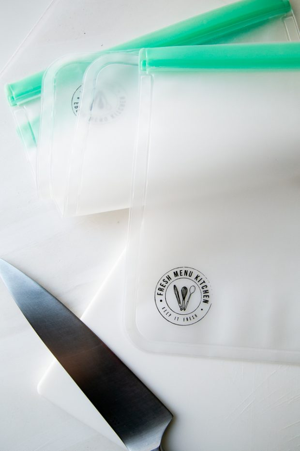 Fresh Menu Kitchen reusable freezer bags are also great for storing prepped ingredients until you're ready to use them.