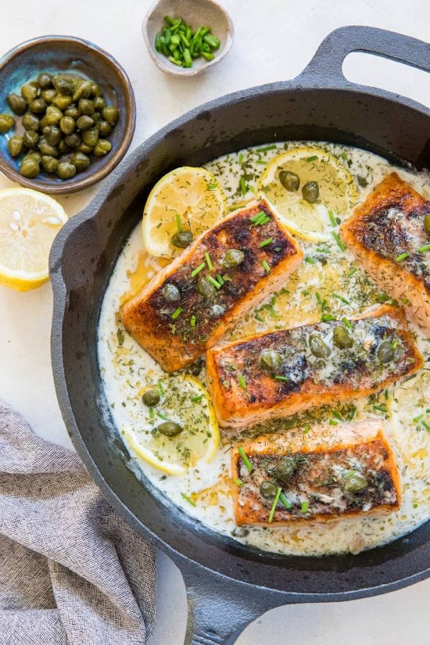 Crispy Skillet Salmon with Lemon-Dill Caper Sauce -- Paleo Meal Plans