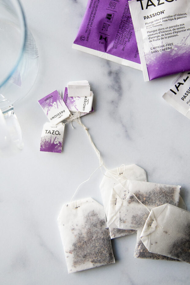 Tazo Passion Tea bags tied together