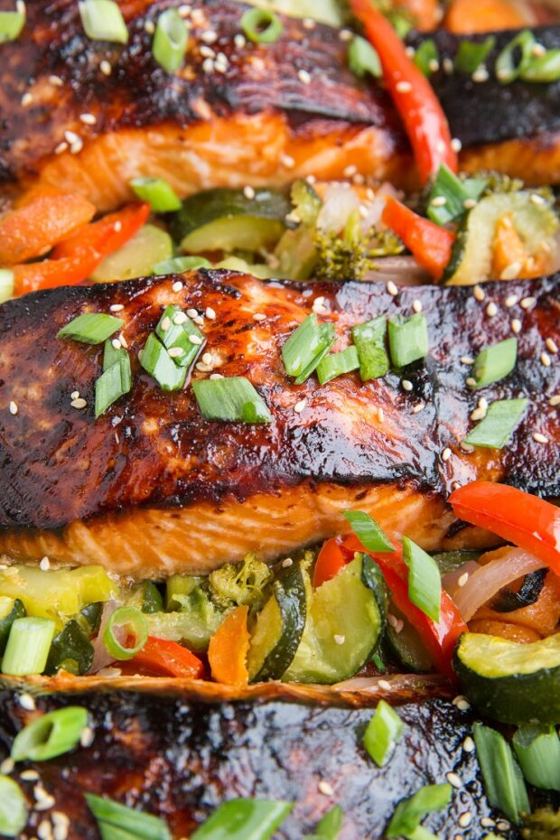 Teriyaki Salmon with roasted vegetables -- part of our Paleo Meal Plan this week.