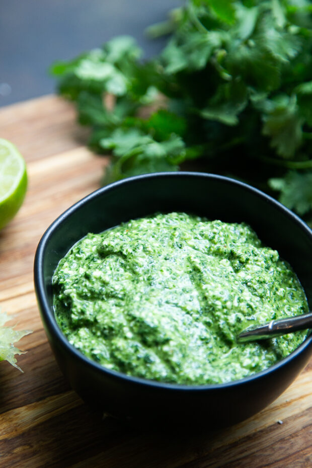 Cilantro Pesto is great with grilled meats, roasted vegetables, drizzled over tacos, and stirred into dips for some extra herby flavor!