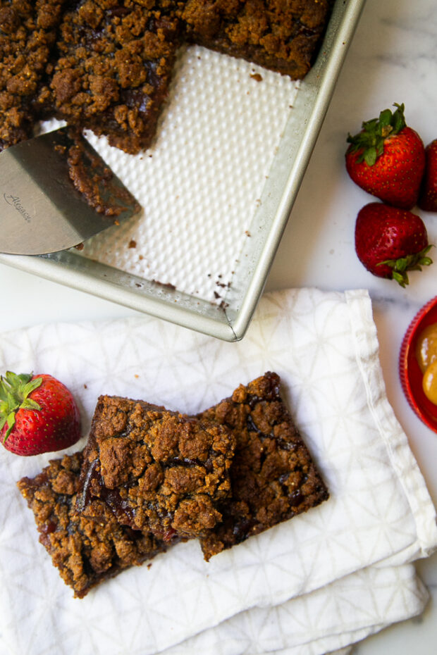 Grain-Free PB&J Bars are a healthier alternative to brownies and cookies and make a great snack.