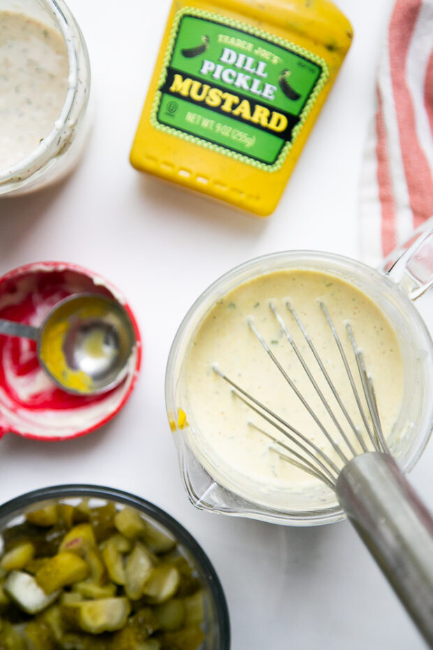 I love this potato salad dressing -- all the extra pickles, ranch, and mustard for me!