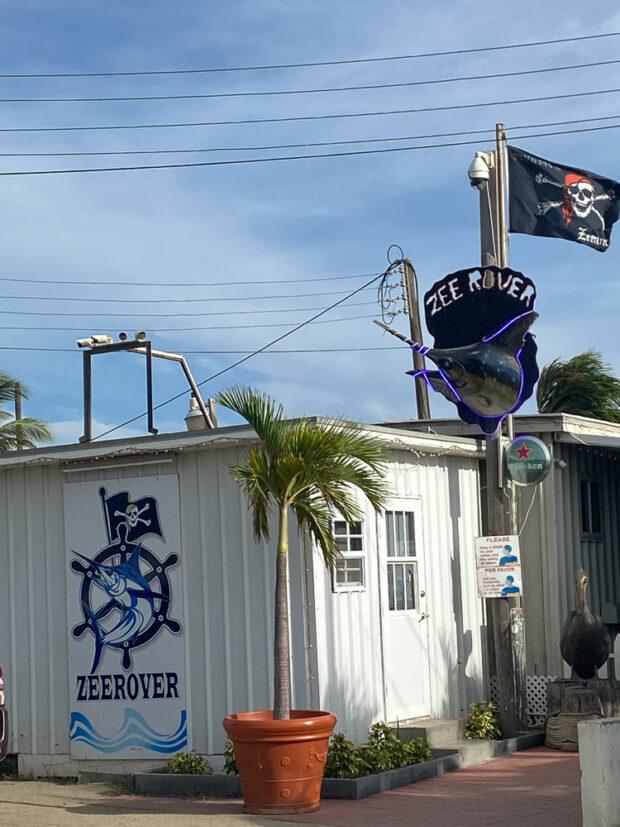 Zeerover in Aruba. A fun restaurant on the ocean that serves fresh fish & shrimp baskets.