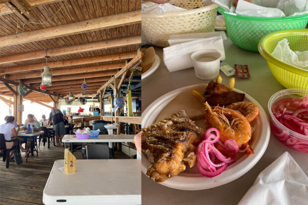Our fish fry from Zeerover in Aruba. Fried snapper and shrimp fresh from the ocean.