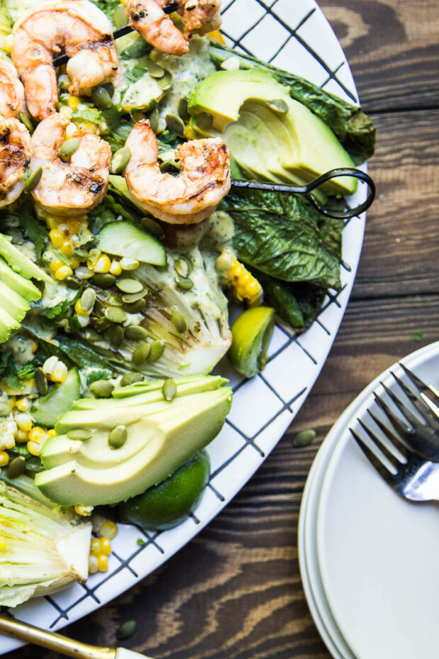 Santa Fe Grilled Caesar Salad with Shrimp -- in our paleo meal plan for the month.