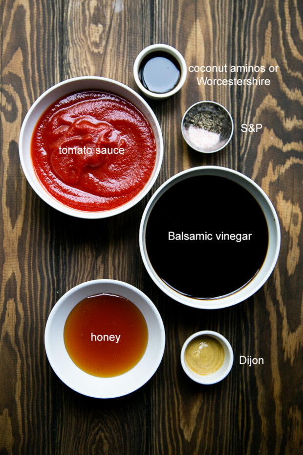There are only a few ingredients in this homemade BBQ sauce. Most of these you already have. Like balsamic vinegar, tomato sauce, worcestershire, honey, and dijon mustard.